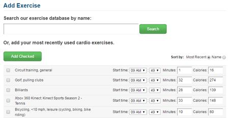 MyFitnessPal Add Exercise