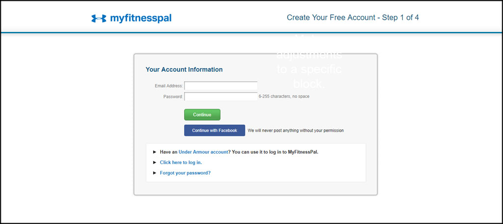 Create MyFitnessPal Account