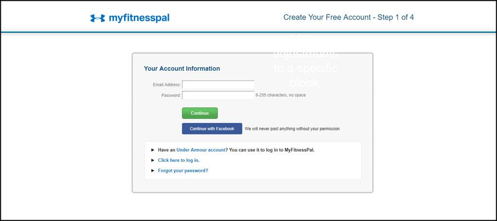 Create MyFitnessPal Account